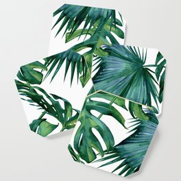 Classic Palm Leaves Tropical Jungle Green Coaster