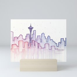 Seattle Skyline Watercolor Mini Art Print