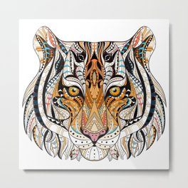Ethnic Tiger Tribal Doodle 02 Metal Print