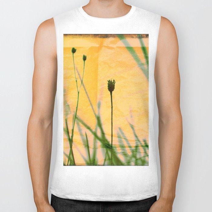 Polaroid photo yellow flower Biker Tank