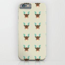Cute deer pattern Christmas decorations retro colors beige background iPhone Case