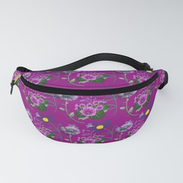 Purple and Blue Floral Pattern Fanny Pack