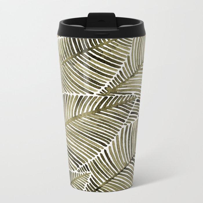 Tropical Leaves – Taupe Palette Metal Travel Mug