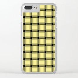 Khaki Yellow Weave Clear iPhone Case