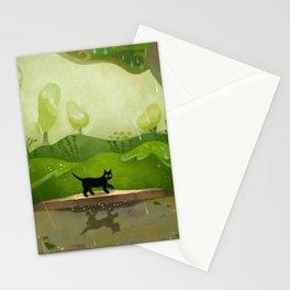Kitty on a rainy day Stationery Cards