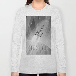 Vintage Rocket Poster Illustration (Black and White) Long Sleeve T-shirt