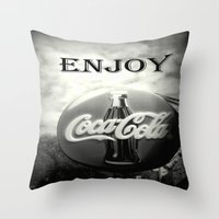 coca cola Throw Pillows featuring Coca Cola #2 by Chris' Landscape Images & Designs