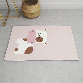 Little pink cow illustration Rug