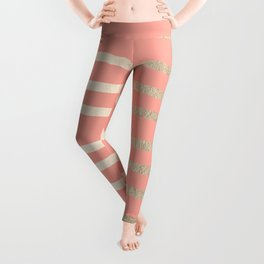 Simply Drawn Stripes in White Gold Sands and Salmon Pink Leggings