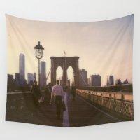 brooklyn bridge Wall Tapestries featuring Brooklyn Bridge by Devic Fotos