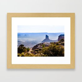 rocky butte at sunset in Utah badlands  Framed Art Print