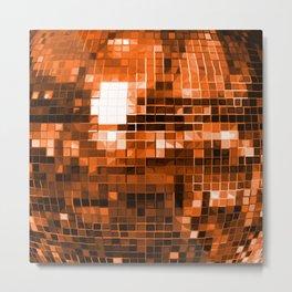 Orange Mirrored Disco Ball Pattern Metal Print