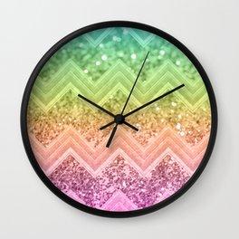 Rainbow Glitter Chevron #1 #shiny #decor #art #society6 Wall Clock