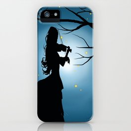 Victorian Lady Playing A Violin Silhouette iPhone Case