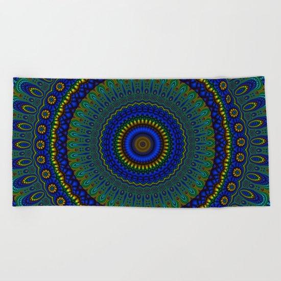 blue yellow mandala Beach Towel