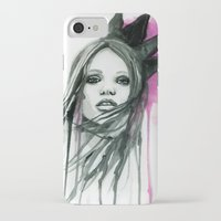 downton abbey iPhone & iPod Cases featuring Watercolour Fashion Illustration Portrait Abbey Lee by Elise Reid
