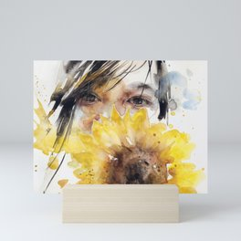 Sunflower girl Mini Art Print
