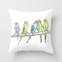 A Row of Budgerigars! Throw Pillow