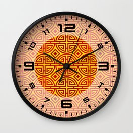 Chinese red gold 1 Wall Clock