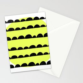half moon pattern with yellow circle Stationery Cards
