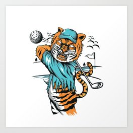 Tiger golfer WITH cap Art Print