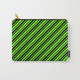 Bright Green and Black Diagonal RTL Var Size Stripes Carry-All Pouch
