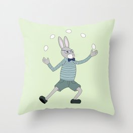Joggling bunny Throw Pillow