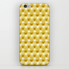 Faux Golden Leather Buttoned iPhone Skin