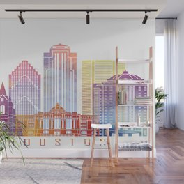 Houston skyline landmarks in watercolor Wall Mural