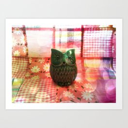 Green owl on patchwork Art Print