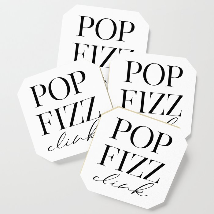 picture relating to Printable Coasters known as Pop Fizz Clink Indication, Bar Decor, Fresh new A long time Printable, Reward Coaster by means of printableartsy