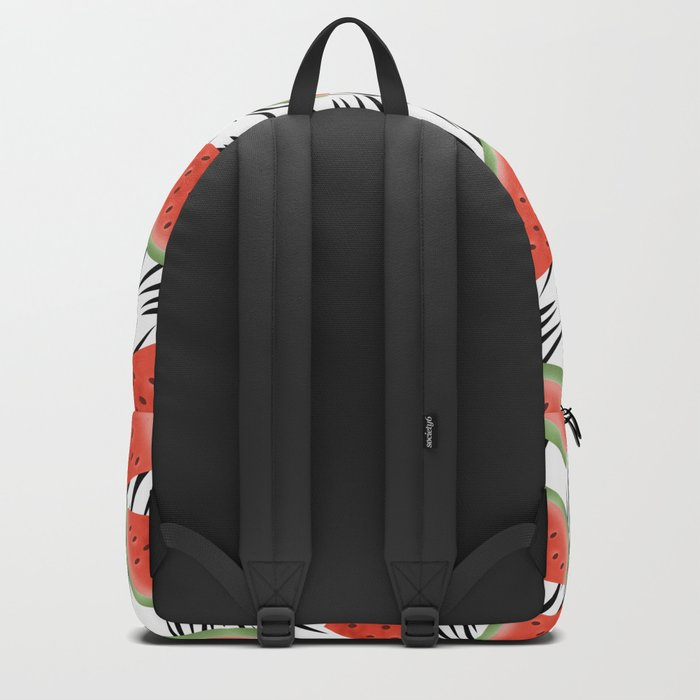 Watermelon slices on white black stripes on the background. Backpack