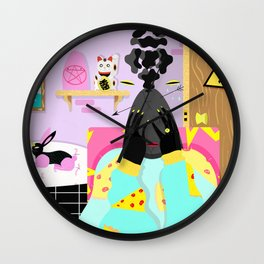 wonderful day out there,  storm inside Wall Clock