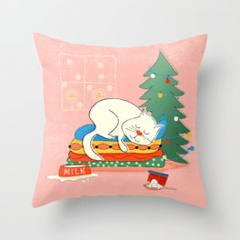 Sleeping White Christmas Cat Throw Pillow