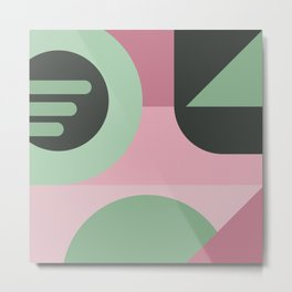 Art Deco Composition Pink and Green #1 Metal Print