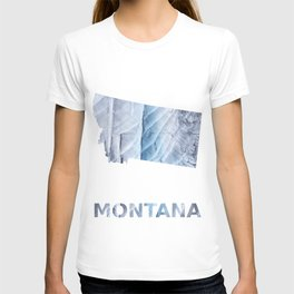 Montana map outline Light steel blue clouded wash drawing T-shirt