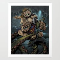 goonies Art Prints featuring The Goonies by flylanddesigns