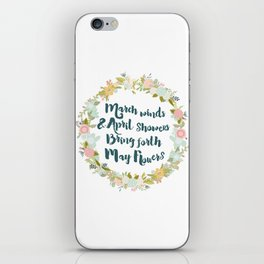 May Flowers brush script iPhone Skin
