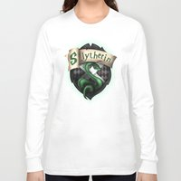 slytherin Long Sleeve T-shirts featuring Slytherin Crest by Sharayah Mitchell