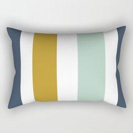 4 Stripe Minimalist Color Block Pattern in Blue, Golden Mustard and Aqua Mint on White Rectangular Pillow