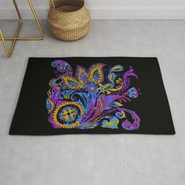 Russian style ornate flowers with paisley trend Rug