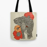 ireland Tote Bags featuring The Elephant by Valentina Harper