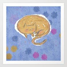 Sleepy Kitty Dreams Art Print