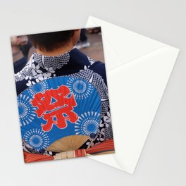 Japanese woman dancing in a matsuri Stationery Cards
