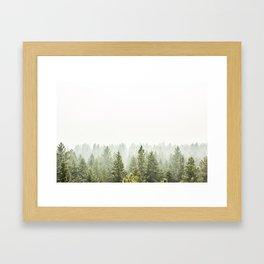 arial forest print, tree top print, wall art, woodland print, forest print, arial fog tree phoo Framed Art Print