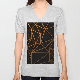 Golden Web - Black And Gold Geometric Design Unisex V-Neck