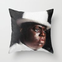 biggie smalls Throw Pillows featuring Biggie Smalls by André Joseph Martin