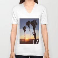 santa monica V-neck T-shirts featuring LA: Santa Monica Beach by Adam Stuart