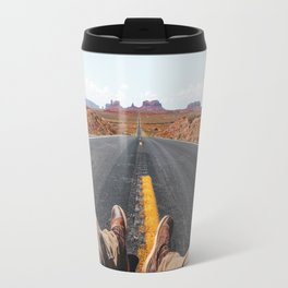 on the road in the monument valley Travel Mug