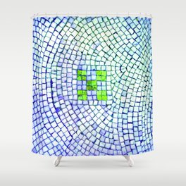 artisan 22.06.16 in lime & shades of blue Shower Curtain